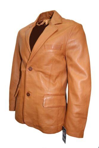 NUOVI Pantaloncini Uomo Marrone Classico Stile Italiano 4080 Blazer in Pelle Nappa Reale Giacca Cappotto