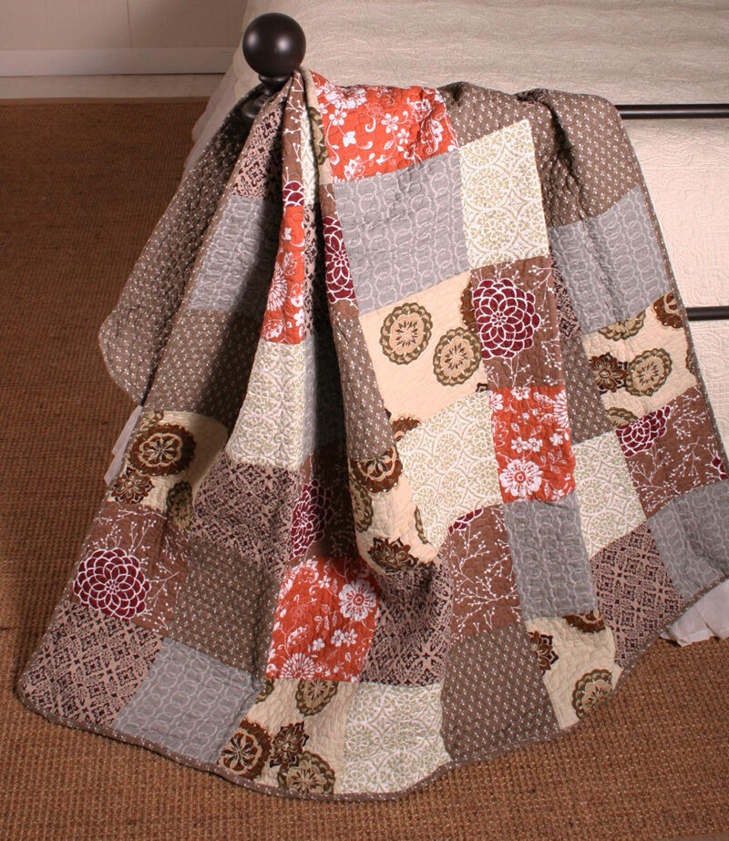 Quilt Throw Modern Floral Estella Patchwork Cotton Lap Blanket Bedding