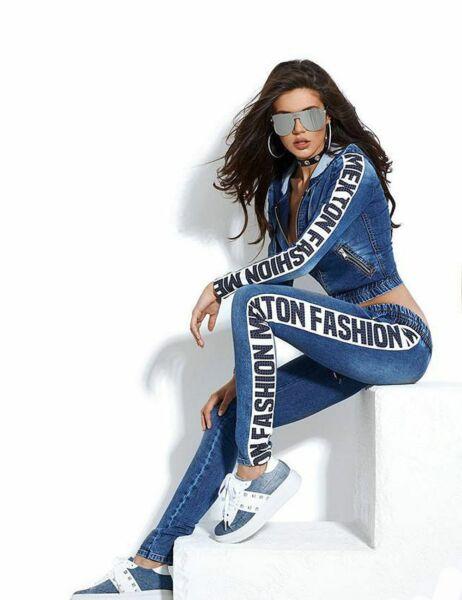 BY ALINA 2-Teiler Jeans Damen Hose Jeansjacke Röhrenjeans Hüftjeans 34-38 #B877