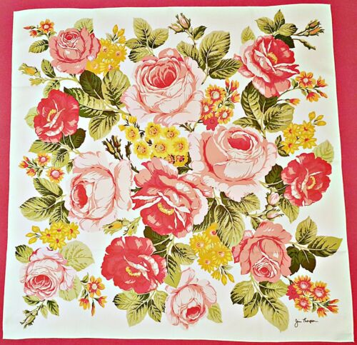 SCARF VINTAGE AUTHENTIC JIM THOMPSON ROSES PINK RE
