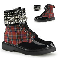 Demonia Plaid Vegan Spiked Studded Ankle Combat Boots Rocker Punk Women's 6-12