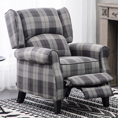 FABRIC RECLINER ARMCHAIR HIGH BACK WINGED SOFA RECLINING ...