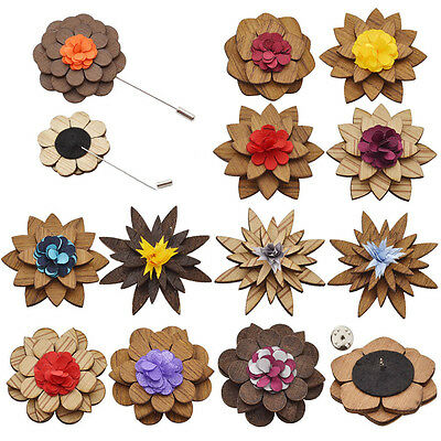 Wooden Camellia Flower Label Pin Brooch Corsage Boutonniere Handmade Men Jewelry