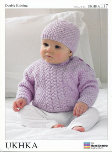 Double Knitting DK Pattern Baby Cable or Moss Stitch Sweater Scarf Hat UKHKA 117