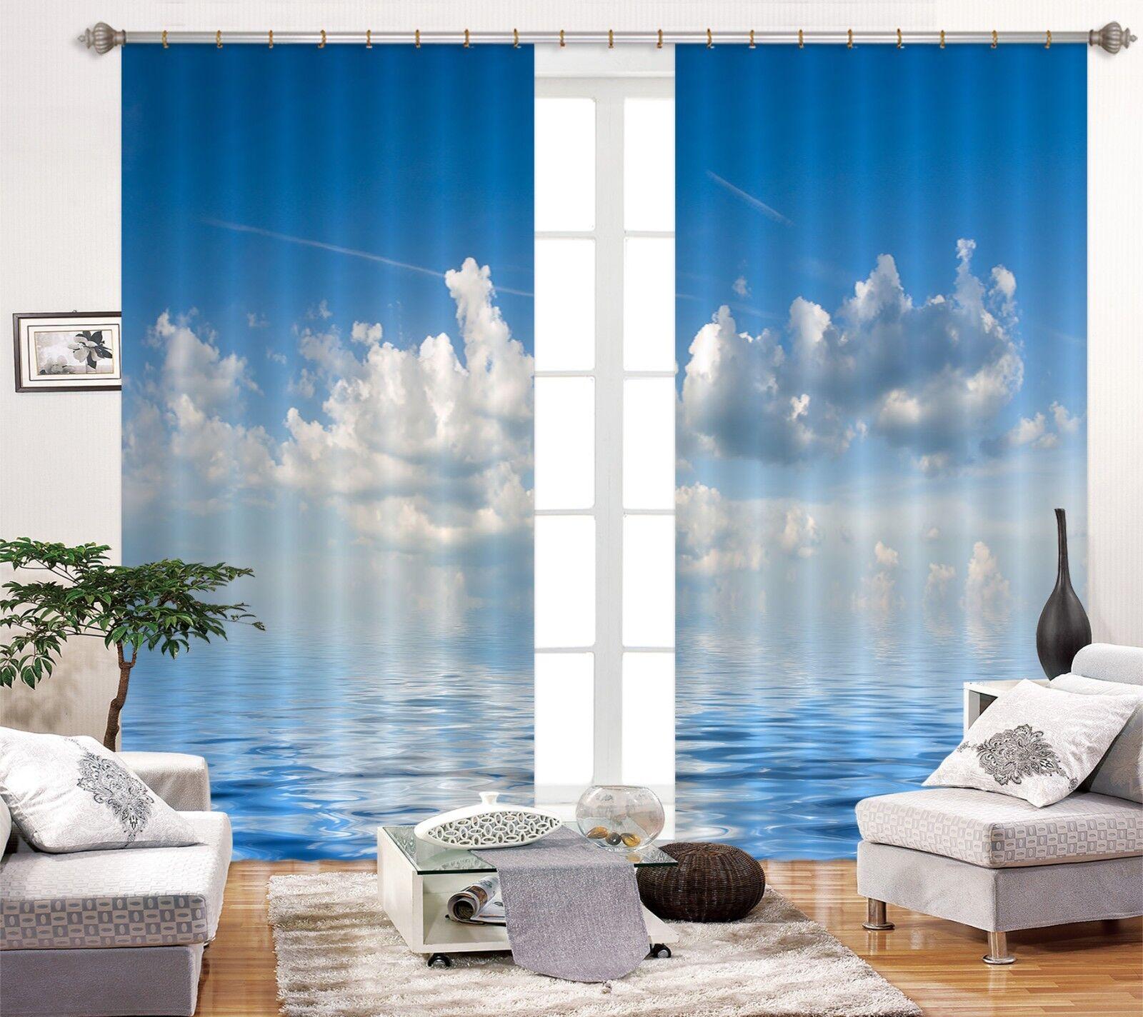 3D mar nubes 2 Cortinas de impresión de cortina de foto Blockout Tela Cortinas Ventana au