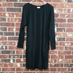 J-Jill-Purejill-Women-039-s-size-S-Black-Tunic-Crinkle-Double-Knit-Dress-Long-Sleeve