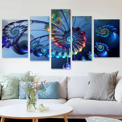modern blue peacock abstract 5 panel canvas wall art home