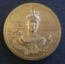 Netherlands Queen Wilhelmina Inauguration Gilt Bronze Medallion 1898 By Spink