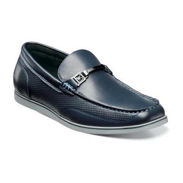 Men's Stacy Adams Casual shoes Navy bluee Moc Toe Bit Slip On Loafers CHAZ 25042