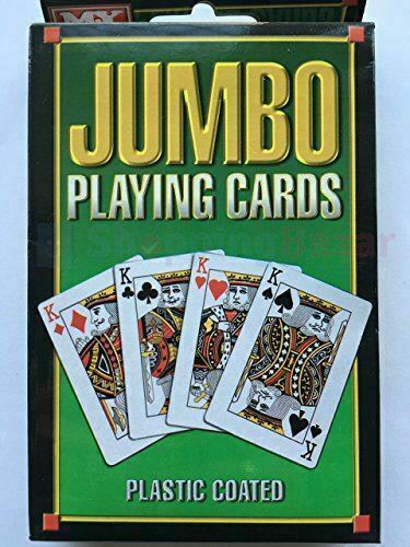 Jumbo Playing Cards Plastic Coated Deck Pack of 52