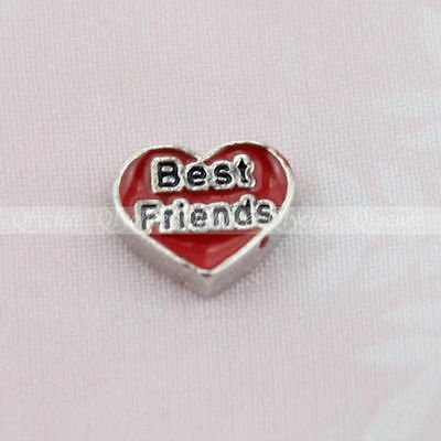 Heart Shaped Floating Locket Charms Best Friend for Glass Living Memory Lockets