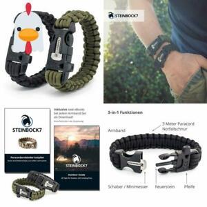 Details zu Steinbock7 Survival Armband, Paracord, Feuerstein, Messer