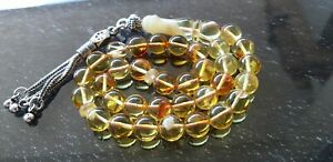 33-Perles-Nature-Ambre-Rosaire-Chaine-Priere-Beads-Coran-Arabe