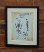 Patente de EE. UU. Dibujo Plancha de Pelo Peluquería Barbero montado impresión 1947 Navidad