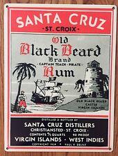 St Croix Santa Cruz Back Beard Rum Pirate Liquor Bar Label Vintage Metal Sign