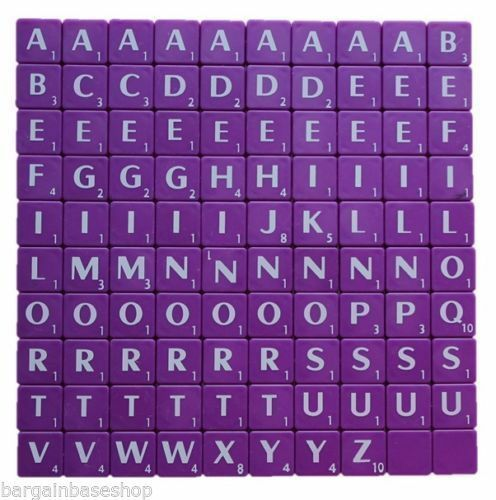 100 PCS PLASTIC SCRABBLE TILES LETTERS NUMBERS FOR WOOD CRAFTS PARTY