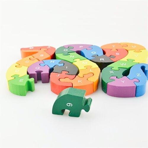 26pcs Alphabet Wooden Puzzle Jigsaw Kids Number Block Preschool Snake Toy /_S