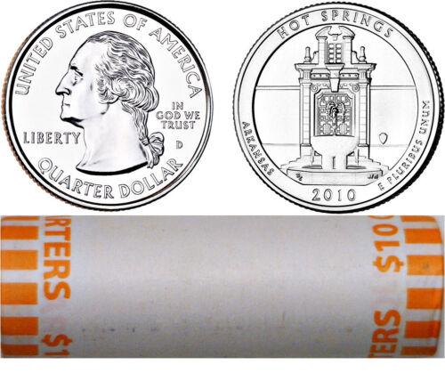 2010-D Hot Springs National Parks ATB Quarter 40 Coin Roll Original Bank Wrap