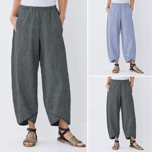 UK Stock Women Striped Harem Pants Casual Loose Pocket Cotton Trousers Size 8-24