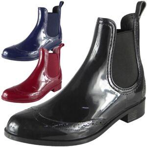 Chaussures-Femme-Bottines-Richelieu-a-Bottes-D-039-Hiver-en-Caoutchouc-Pluie-Neige-A-Enfiler-Taille