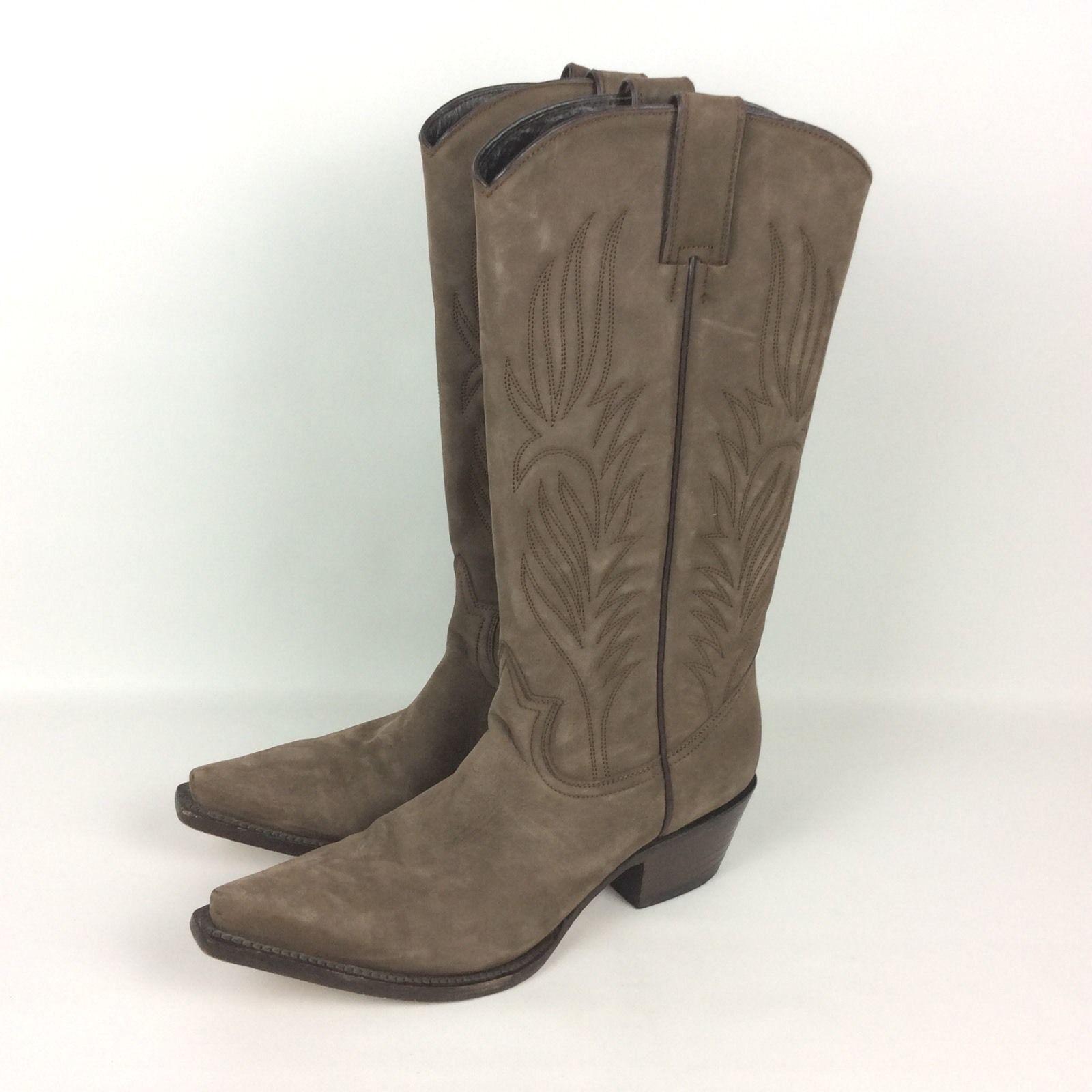 Steve Madden Lonestar Stiefel 7.5 M Western Cowboy Braun Taupe Suede Leder