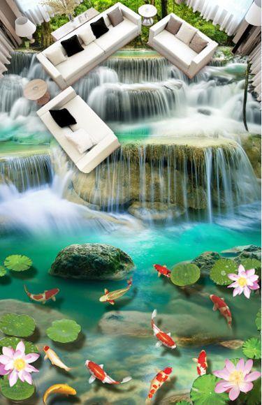 3D Fisch Blaume Wasser 069 Fototapeten Wandbild Fototapete Bild Tapete Familie
