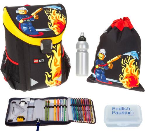 5 Teile Ranzen LEGO EASY Schulranzen Tornister 1-4.Klasse CITY FIRE Schwarz m bf