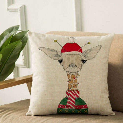 """18/""""  Christmas giraffe Cotton Linen Pillow Case Throw Cushion Cover Home Décor"""