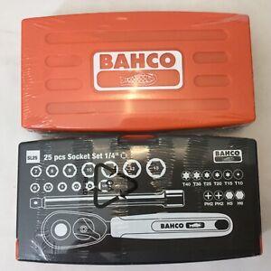 BAHCO-SL25-25pc-1-4-034-SOCKET-SET-4mm-13mm-t10-T40-ph2-h5-h6-RATCHET-EXTENSION