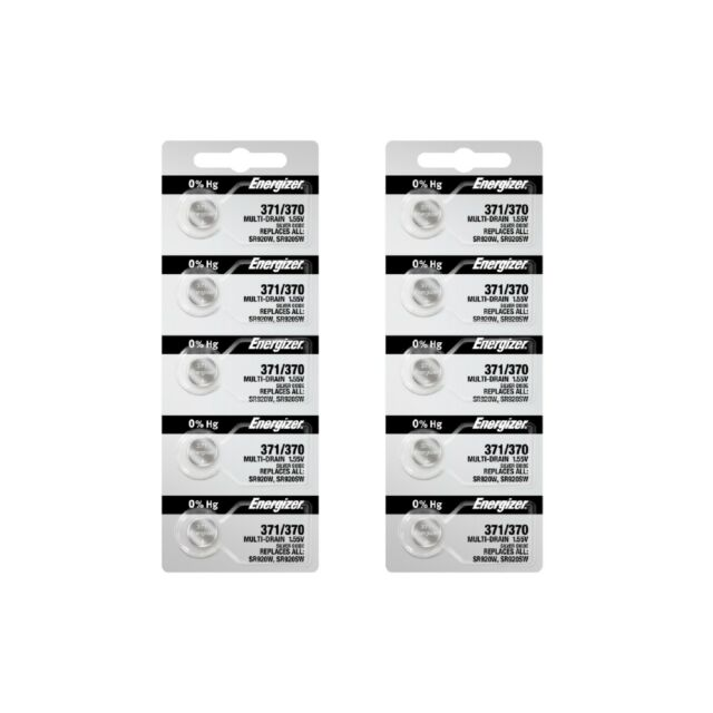 Energizer 371 / 370 Silver Oxide Coin Cell Batteries 5 x 2 (10 Batteries) New