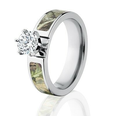 Official License Realtree Ap Green Camo Engagement Rings 1 Ct Cz Center Stone Ebay