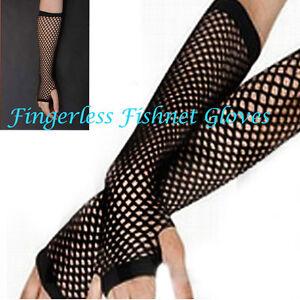 Long-black-fishnet-fingerless-ladies-gloves-adults-dance-accessory-80s-Style