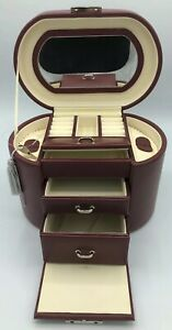 Jared Travel Jewelry Box 5 034 X 6 034 X 8 034 New Burgundy Box With Mirror And 2 Drawers