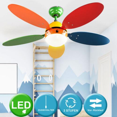 LED Decken Ventilator Kinder Wohn Zimmer Kühler Heizer Zugschalter Big Light