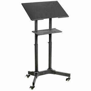"""Black Mobile 24"""" Height Adjustable Rolling Podium, Lectern, Laptop Workstation"""