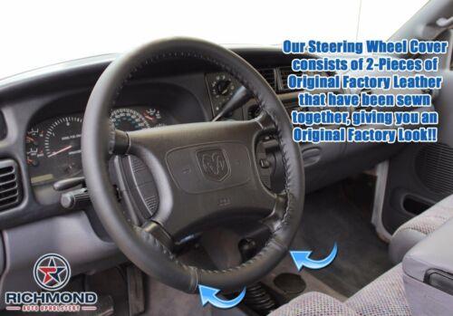 Black Leather Steering Wheel Cover 1998 Dodge Ram 1500 2500 3500 Laramie SLT