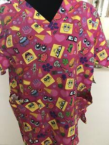 c3be5b1adfd Image is loading NWT-Nickelodeon-Spongebob-Squarepants-Scrubs-Top-Women-039-