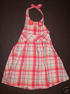 5 or 6 NWT Gymboree Tropical Garden Plaid Cotton Halter Dress Size 4