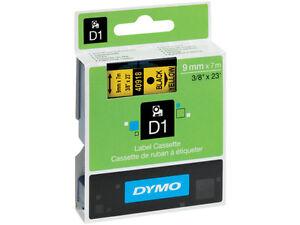 ETICHETTE-NASTRO-40918-DYMO-D1-9mm-X-7m-NERO-su-GIALLO-BLACK-on-YELLOW
