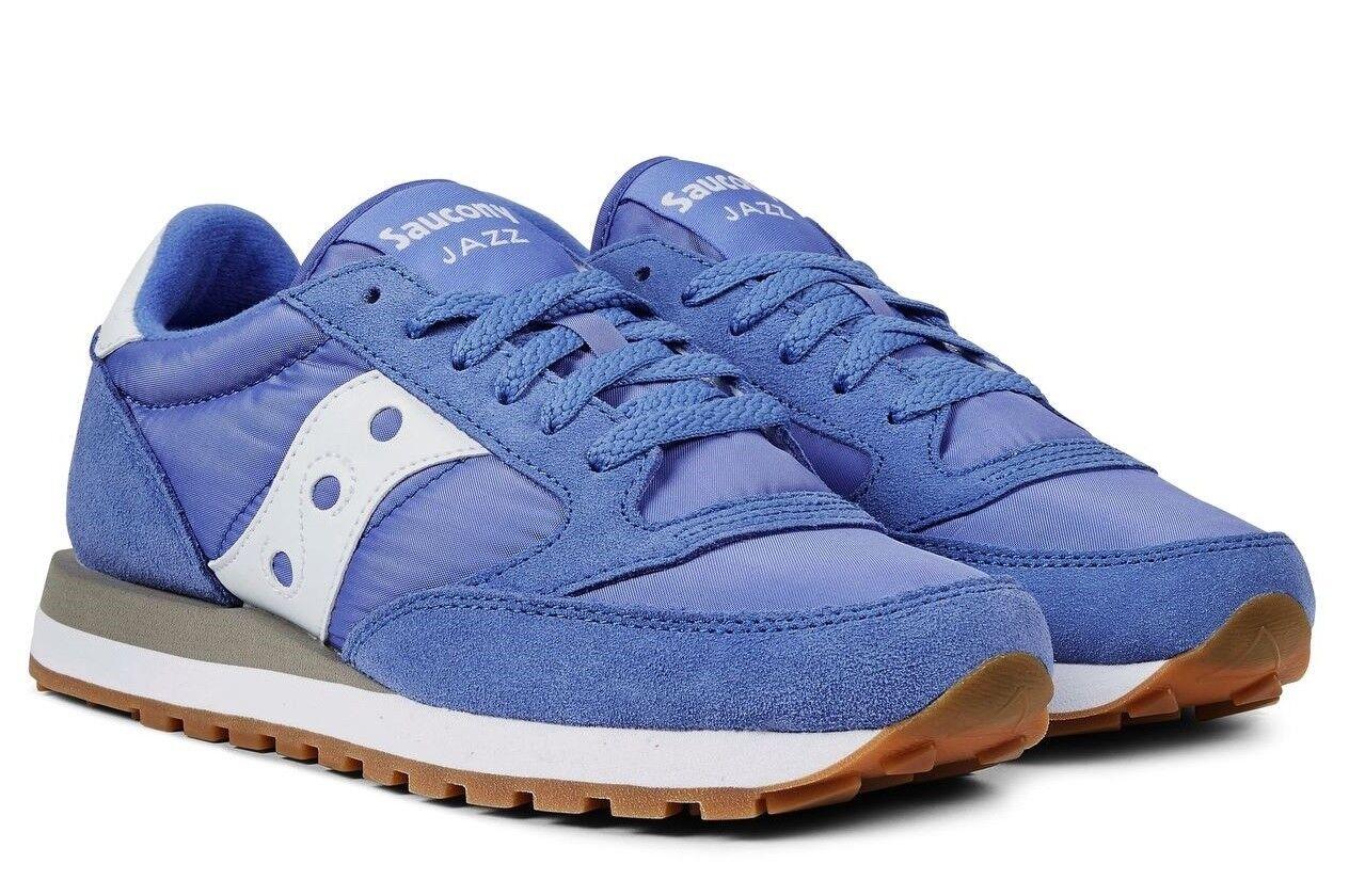 saucony Jazz Leder Original Schuhe Frau Turnschuhe Leder Jazz Gämse Leinwand Sport blau 8c6715