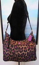 COACH Purple Poppy Leopard Ocelot Print Shoulder Bag Crossbody F26033 RARE