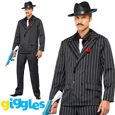 DELUXE 1920/'S MENS CABARET SUIT BLACK MEDIUM FANCY DRESS COSTUME