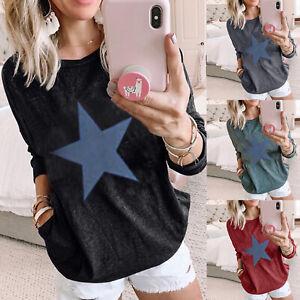 Women-Star-Printed-T-Shirt-Long-Sleeve-Blouse-Ladies-Casual-Loose-Tops-Tee-Shirt