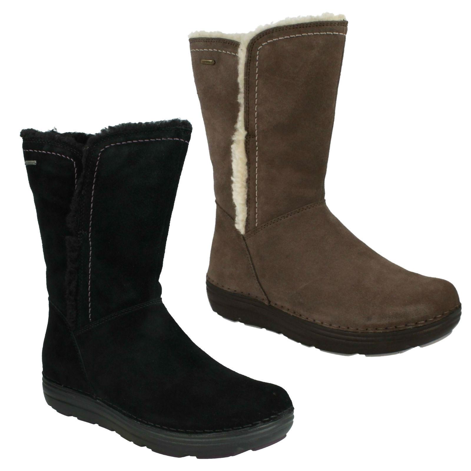 Nelia Net GTX Damas Clarks Gamuza Impermeable Cremallera Mitad de Pantorrilla Zapatos Botas De Invierno De Piel