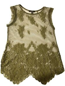 SUEDE-Mesh-Tank-Top-Size-S-Sleeveless-Olive-Green