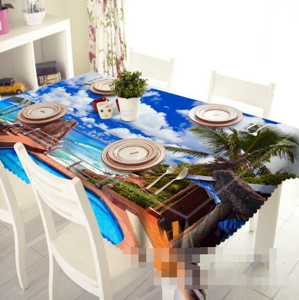3D Sky beach 8 Tablecloth Table Cover Cloth Birthday Party Event AJ WALLPAPER AU