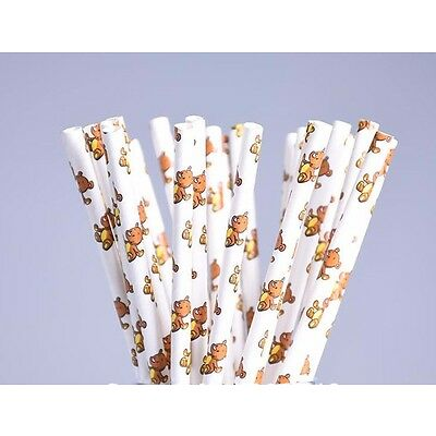 Teddy Bears Picnic Paper Straws Baby Shower Woodland Theme Party 25 Or 50 pcs