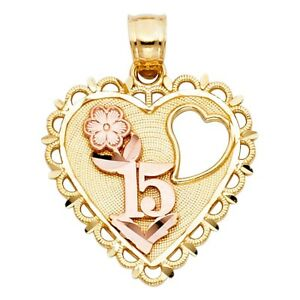6b8aba98d Sweet 15 Anos Quinceanera Heart 14k Two Tone Pure Gold Flower Charm ...