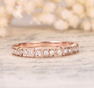 Moissanite Wedding Band 14k Gold Half Eternity Ring Milgrain Art