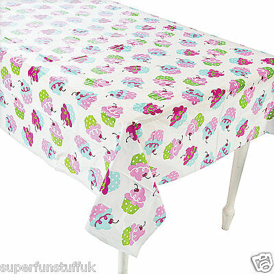"108"" x 54"" CUPCAKE PRINT TABLECLOTH TABLE COVER WIPE CLEAN BIRTHDAY PARTY CLOTH"